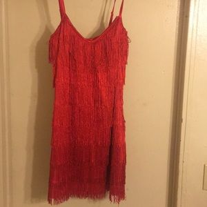 Red flapper style dress